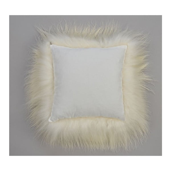 Biała poduszka futrzana z długim włosiem, 35x35 cm