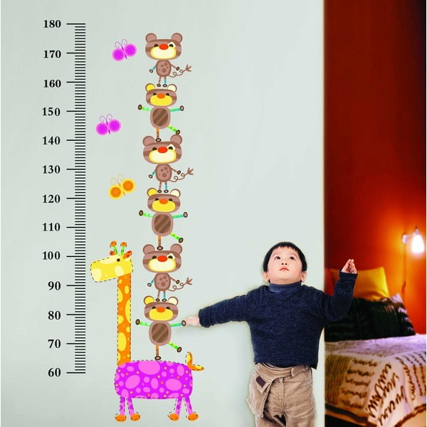 Naklejka z miarką wzrostu Giraffe and Marsupilamis