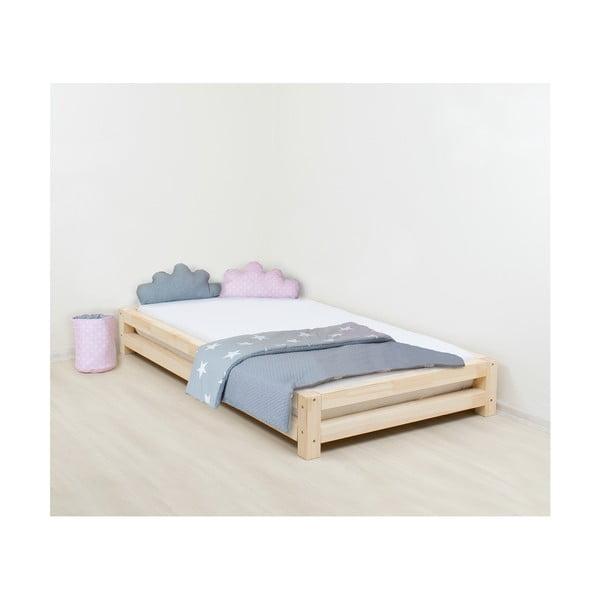 Łóżko dziecięce z drewna sosnowego Benlemi JAPA Natural, 120x180 cm