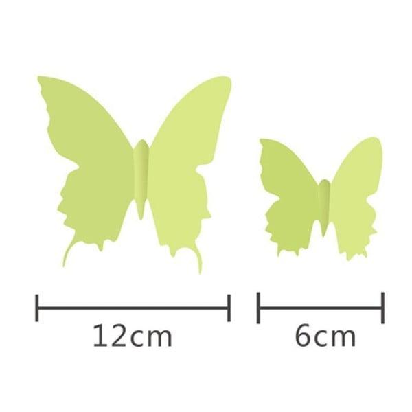 Zestaw 12 naklejek 3D świecących w ciemności Ambiance Butterflies