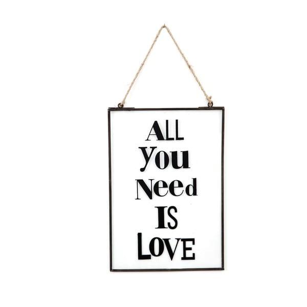 Szklana tabliczka z napisem All You Need, 22x33 cm