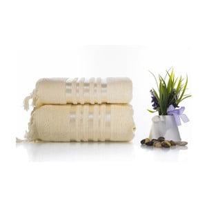 Komplet 2 kremowych ręczników z bawełny Ladik Eleanor