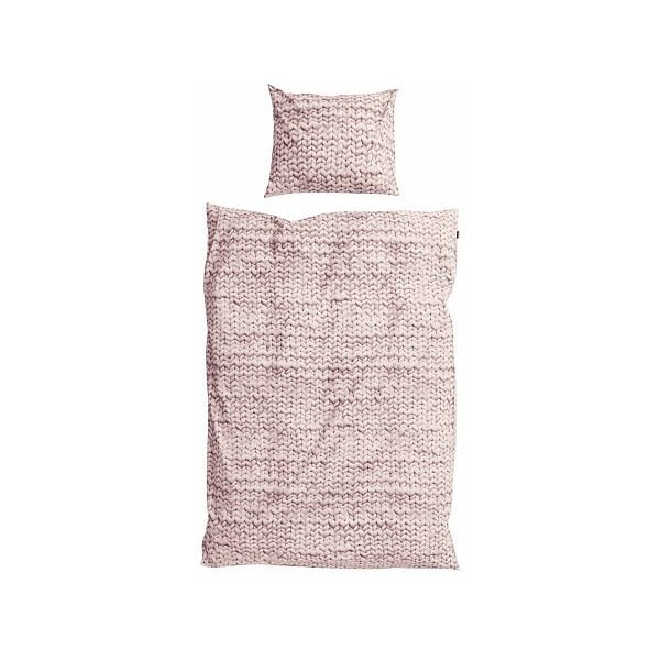 Różowa pościel bawełniana Snurk Dusty, 140 x 200 cm