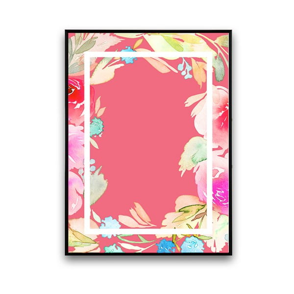 Plakat z kwiatami, różowe tło w ramce, 30 x 40 cm