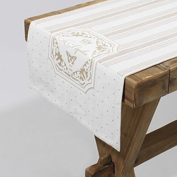 Bawełniany bieżnik Beige Stripes, 40x140 cm