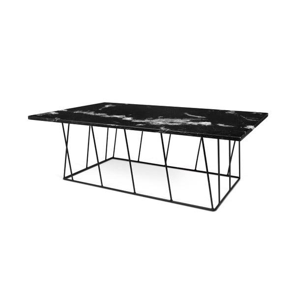 Czarny stolik marmurowy z czarnymi nogami TemmaHome Helix, 120 cm