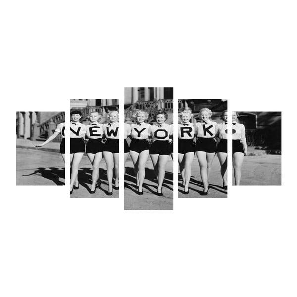Wieloczęściowy obraz Black&White NY Girls, 100x50 cm