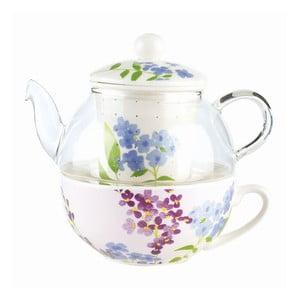 Zestaw do herbaty Flower, czajnik i kubek