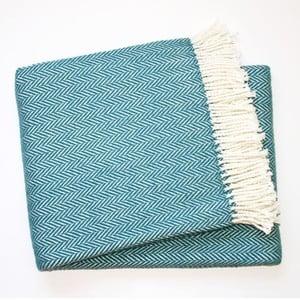 Niebieski koc z dodatkiem bawełny Euromant Skyline, 140x180cm