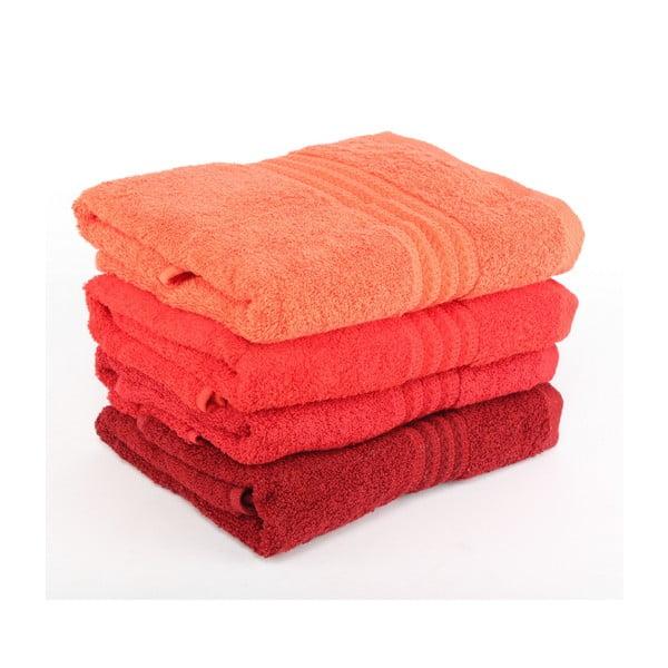 Zestaw 4 czerwonych ręczników Rainbow, 50x90 cm
