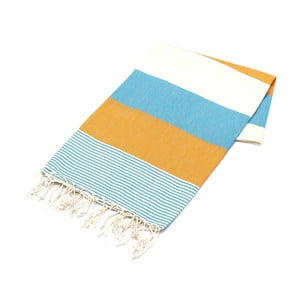 Ręcznik hammam American Fouta Orange & Light Blue, 100x180 cm