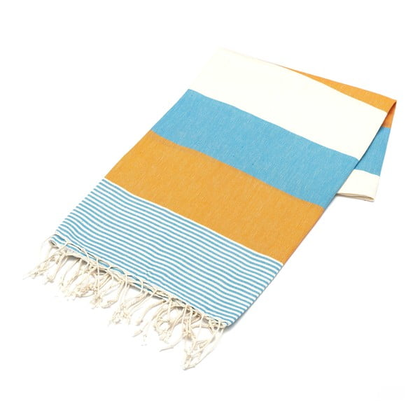 Ręcznik hammam American Fouta Orange & Light Blue, 100x180 cm