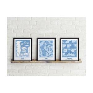 Zestaw 3 plakatów Follygraph Little & Big Explorer Blue, 30x40cm