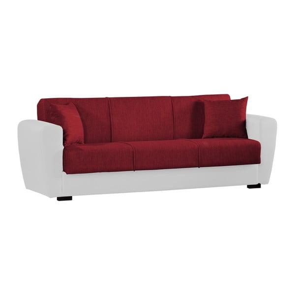 Czerwono-biała trzyosobowa sofa rozkładana ze schowkiem Esidra Comfort