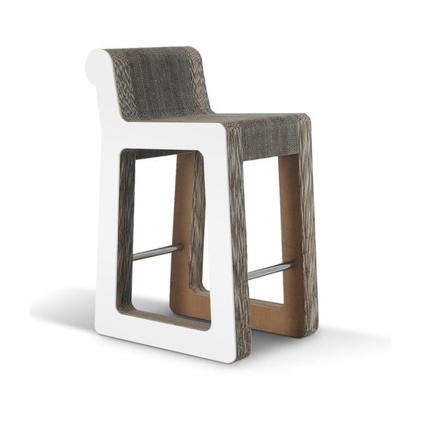 Barowe kartonowe krzesło Knob Stool White