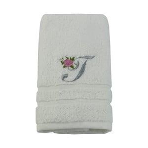 Ręcznik z inicjałem i różyczką T, 50x90 cm