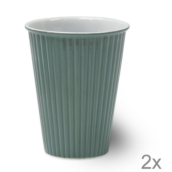 Zestaw 2 filiżanek ceramicznych Latte Shutter Blue, 12 cm