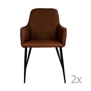 Sada 2 hnědých jídelních židlí House Nordic Harbo