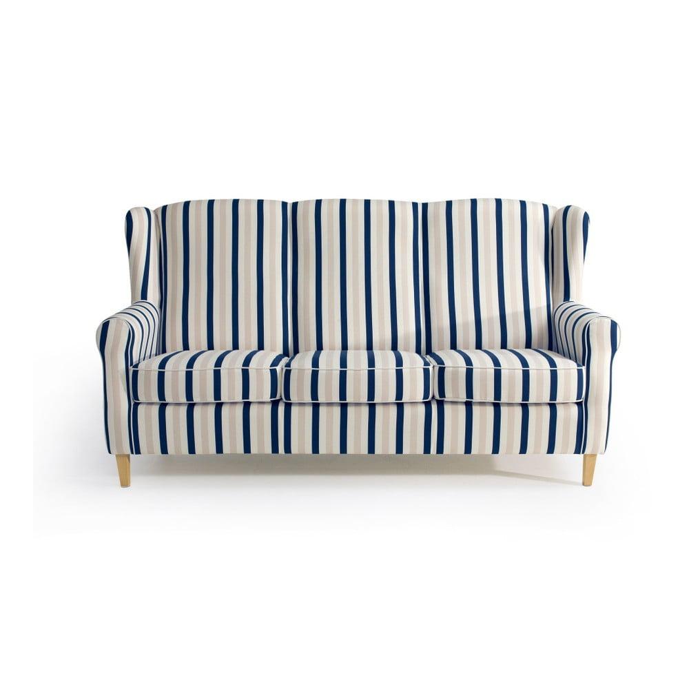 Niebiesko-biała sofa w paski Max Winzer Lorris, 193 cm