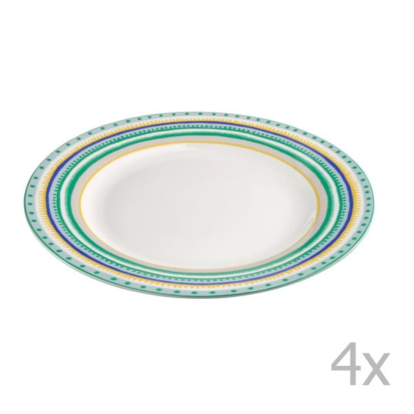 Komplet 4 talerzyków porcelanowych Oilily 22 cm, zielony