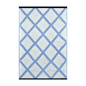 Biało-niebieski dwustronny dywan zewnętrzny Green Decore Diamond, 90x150 cm