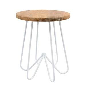 Biały stolik z drewnianym blatem HF Living Round