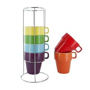 Zestaw 6 kubków na stojakuCappuccino Rainbow