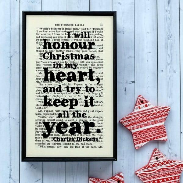 Plakat w   drewnianej ramie Dickens Christmas