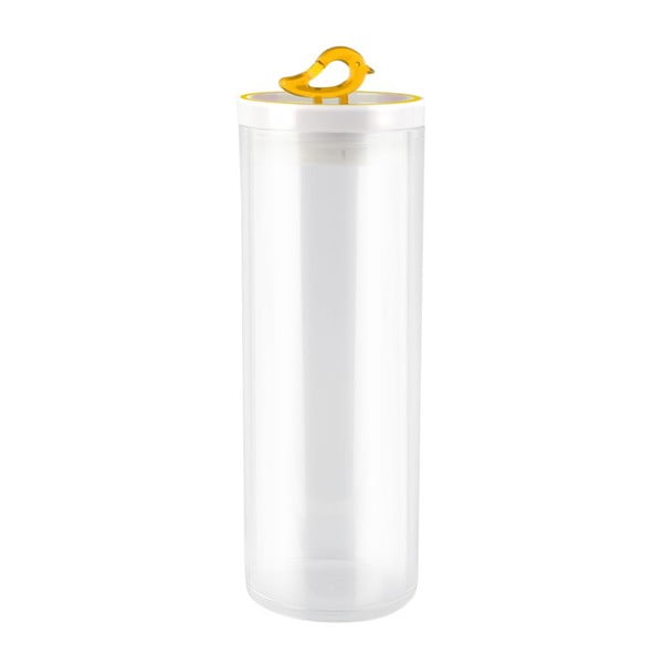 Przezroczysty pojemnik z żółtym detalem Vialli Design Livio, 1,8 l