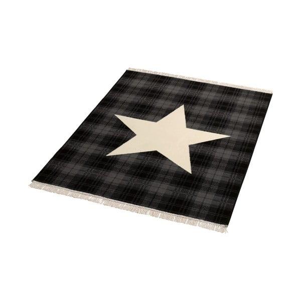 Dywan Fringe - czarna gwiazda, 140x200 cm