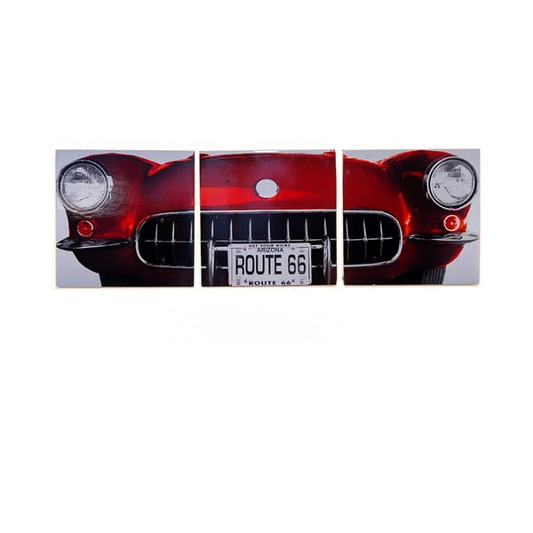 Obraz na drewnie Red Vintage Car, 30x93 cm