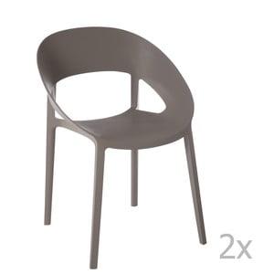 Zestaw 2 szaro-beżowych krzeseł J-Line Lola