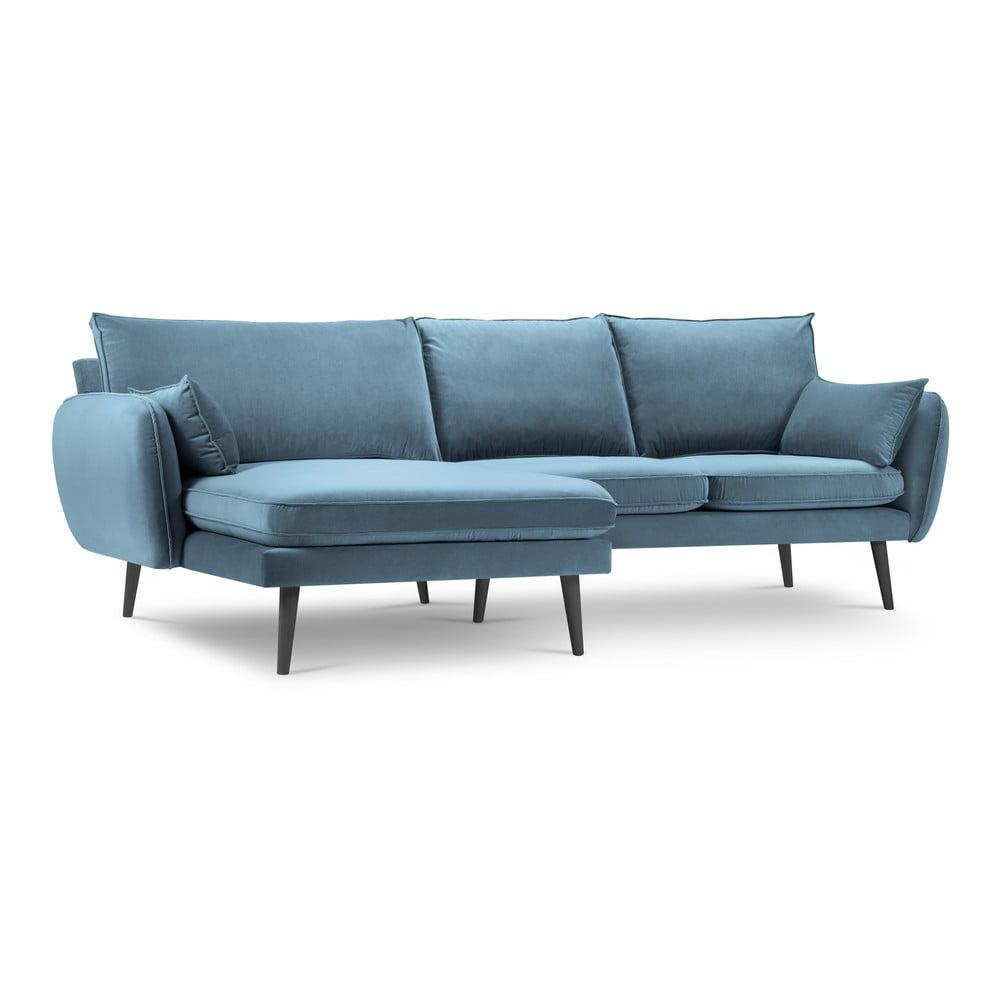Jasnoniebieska aksamitna narożna sofa Kooko Home Lento, lewostronny