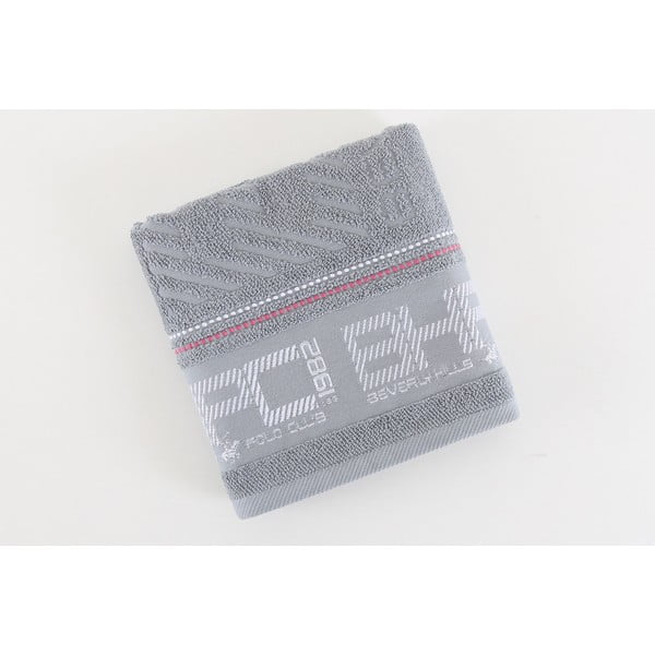 Ręcznik bawełniany BHPC szary, 50x100 cm