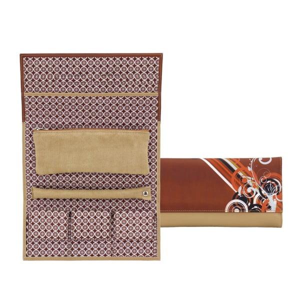Brązowa zwijana szkatułka Friedrich Lederwaren Diagona
