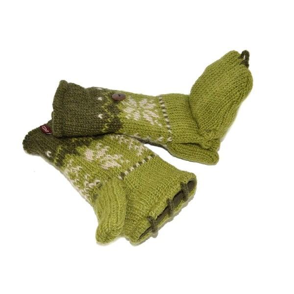Rękawiczki z klapką Green Snowflake