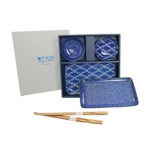 Zestaw talerzy i pałeczek Nippon Blue Romantic dla 2 osób
