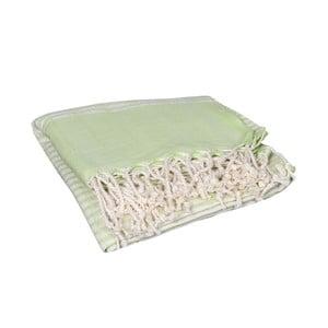 Zielony ręcznik hammam Yummy Green, 90x190cm