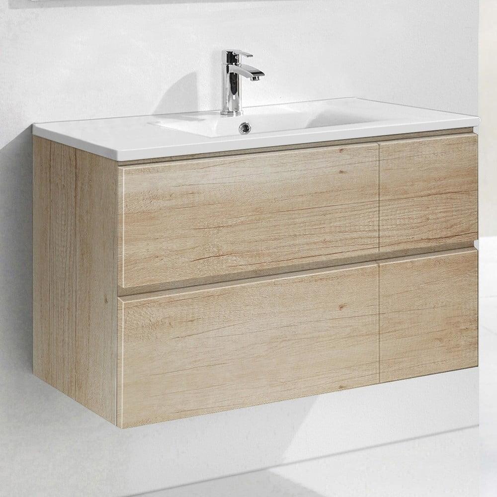 Szafka Do łazienki Z Umywalką I Lustrem Monza Motyw Drewna 120 Cm Bonami