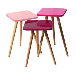 Zestaw 3 stolików Kate Louise Square (różowy, fioletowy, ciemnofioletowy)