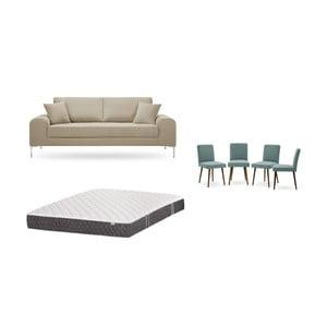 Zestaw 3-osobowej szarobeżowej sofy, 4 szarozielonych krzeseł i materaca 160x200 cm Home Essentials
