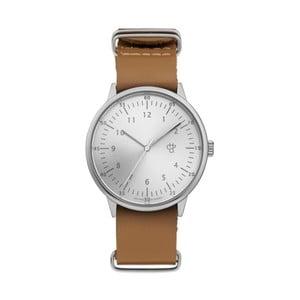 Zegarek z brązowym paskiem i cyferblatem w srebrnej barwie CHPO Harold