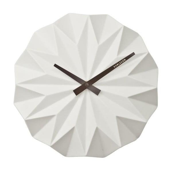 Biały zegar scienny Present Time Origami Ceramic
