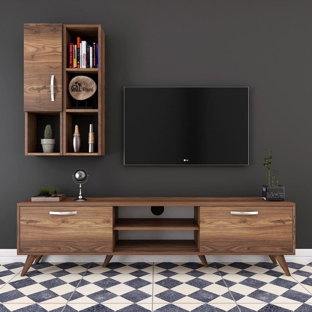 Zestaw komody pod TV i półki ściennej w dekorze drewna orzechowego Wren