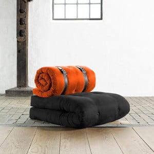 Fotel rozkładany Karup Buckle Up Black/Orange
