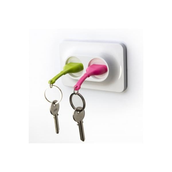 Naścienny uchwyt z zawieszkami na klucze Double Unplug, zielony/różowy