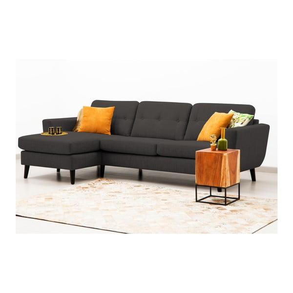 Antracytowa sofa z szezlongiem po lewej stronie Vivonita Harlem