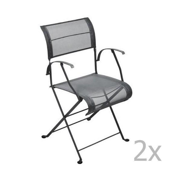 Zestaw 2 antracytowych krzeseł składanych z podłokietnikami Fermob Dune
