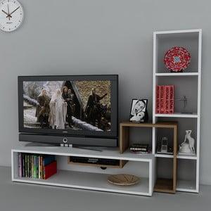 Stolik telewizyjny z regałem Stab White/Walnut, 39x143,6x123,4 cm