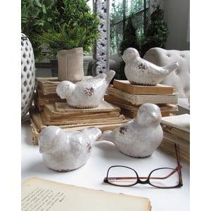 Zestaw 3 dekoracyjnych ptaszków Antique White
